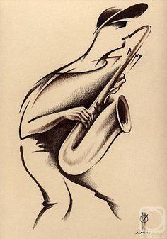 Китайская и японская живопись Saxophone Tattoo, Saxophone Music, Saxophone Players, Art Beat, Jazz Poster, Jazz Art, Stick Art, Art Deco Posters, Rock Design