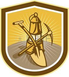 coal miner: Ilustración de una piqueta del minero de carbón y una pala cruzada con la lámpara dentro de escudo forma cresta hecho en estilo retro grabado en madera. Vectores