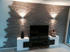 Natural stone wall cladding - stone cladding # living room - Do it yourself decoration Stone Wall Living Room, Living Room Tv, Decorative Stone Wall, Natural Stone Wall, Wall Cladding, Stone Cladding, Bedroom Colors, Living Room Designs, Home Decor