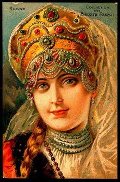 Russian beauty in kokoshnik, traditional headdress. French trade card. #art…
