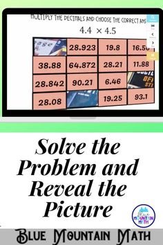 Are you looking for an interactive and self-correcting resource to practice multiplying decimals with your students? There are 2 different pictures with 16 problems for each picture on multiplying decimals. Students start with the picture totally covered by the answer boxes. As they answer each question correctly, more and more of the covered picture is revealed.