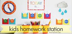 Help your child focus on his homework by making him his very own DIY homework station - free printables to help him learn everything from time to weather.