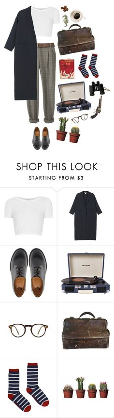 """I will love you soon, but not now (tag!)"" by clarulven ❤ liked on Polyvore featuring Topshop, Monki, Dr. Martens, Crosley, Oliver Peoples, Seasalt and Edition"