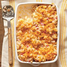 Baked Smokin' Macaroni and Cheese - Southern Comfort Food: Rich and Satisfying Casserole Recipes - Southern Living Healthy Southern Recipes, Vegetarian Recipes, Cooking Recipes, Healthy Recipes, Southern Food, Meal Recipes, Side Recipes, Light Recipes, Healthy Food