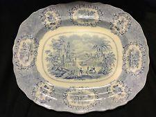 """Antique Blue Transferware Ridgeways Oriental 15"""" Serving Platter Staffordshire"""