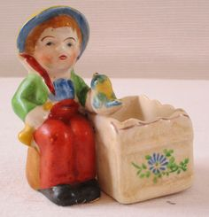 Boy with Bird and Basket Occupied Japan Toothpick Match Holder