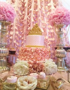 The Princess Birthday  Cake at this gorgeous pink party is amazing!! See more party ideas and share yours at CatchMyParty.com