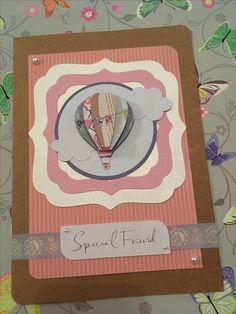 Special friend birthday card greeting card #handmade #papercraft #sizzix #diecutting #hotairballoon #decoupage