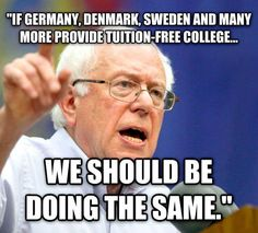 Americans need a college education to compete in the workplace. College today is what high school was fifty years ago. Bernie's right -- free public college, like high school, is good for America's future. Bernie Sanders 2016! #FeelTheBern
