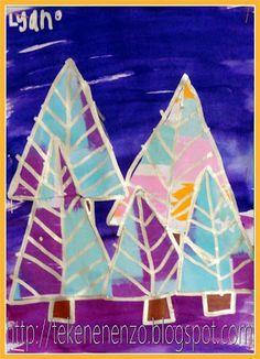 Tekenen en zo: Kerstmis Bomen maken met waterverf, water en vloeipapier.