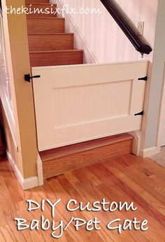 Because little doors are important too!  Here's another DIY article for building custom baby/pet gates for your home. Why use ugly store bought gates when you can easily build an adorable custom one like this?  DIY home.  baby gates. doors. interior design. do it yourself ideas. #dogdiy