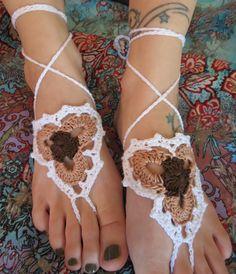 Barefoot SandalsCrochetFoot JewelryFoot by StitchinMom19 on Etsy, $19.00