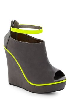 Peep toe neon & gray wedges. Yum.