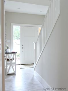Benjamin Moore Edgecomb Gray Or Greige In Entryway Foyer With White Frotn Door And Porcelain Floor Kylie M Interiors E Design Decor Online Decorating