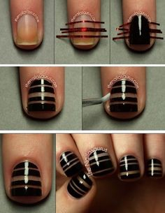 Black Tape Nail art #nailart #nudepolish #stripes - bellashoot.com