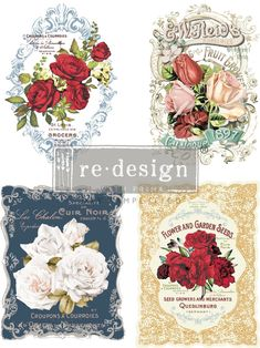 Wild Roses Transfer, Rub-on Furniture & Wall Decor Transfer, Redesign with Prima Rose Design, Floral Design, Rub On Transfers, Image Transfers, Chalk Paint Colors, Rose Wall, Rose Decor, Flower Seeds, Decoration