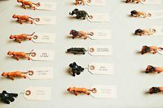 Animal figurine seating cards for zoo wedding | ein photography