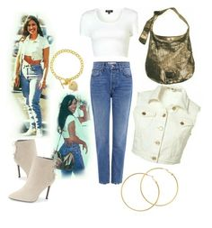 """Casual Selena Quintanilla-Pérez outfit. "" by landersm ❤ liked on Polyvore featuring Melissa Odabash, BERRICLE, 10 Crosby Derek Lam and Charles David"