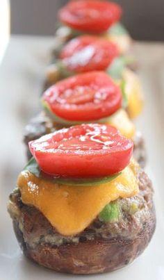 Cheeseburger Stuffed Mushrooms I would call these mushroom sliders. #appetizers