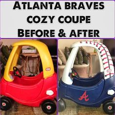 Atlanta Braves Cozy Coupe Makeover - make Texas Rangers and it's awesome!
