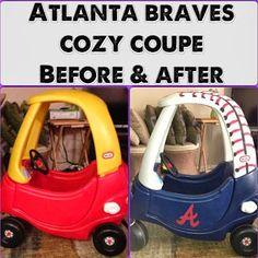 Atlanta Braves Cozy Coupe Makeover Cozy Coupe Makeover, Braves Baseball, Baseball Stuff, Baseball