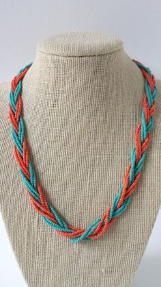 Teal and orange necklace, seed bead necklace, braided necklace, orange necklace… Knitted Necklace, Braided Necklace, Seed Bead Necklace, Seed Bead Jewelry, Diy Necklace, Necklace Designs, Necklaces, Handmade Jewelry Designs, Beaded Jewelry Patterns