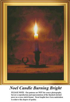 Noel Candle Burning Bright, Stitch Pattern. Kit and Digital Download available. #christmascrossstitch