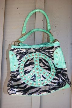 Cowgirl PEACE Sign Bag, Lots of sequins, lots of bling! Snaps on each end to expand, very, very roomy shoulder bag.