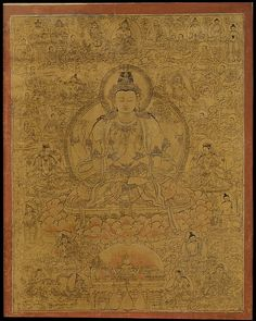 Sadaksari-Lokeshvara Surrounded by Manifestations and Monks - Date: late 15th…