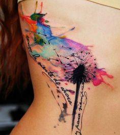 Tattoo-Ideen-Wasserfarbe-Pusterblume-farbig