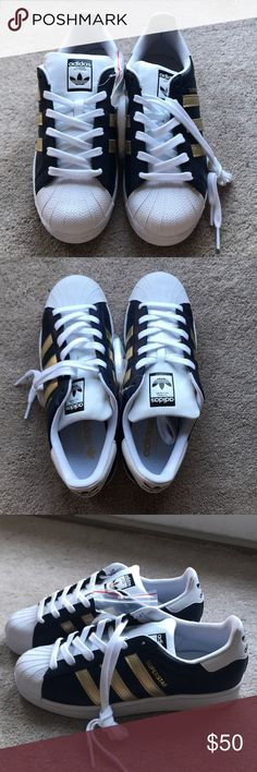 Adidas blue and gold superstar shoes Brand new!! Size 8 medium fit. Navy blue with gold stripes. adidas Shoes Sneakers