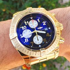 18k Yellow Gold Breitling Super Avenger K13370 Limited Edition #1! For sale with box, papers, and original purchase receipt! #breitling #womw #watches #chronograph #limitededition #gold #watchesforsale #superavenger