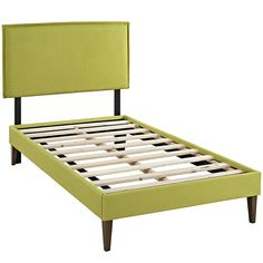 Camille Twin Febric Platform Bed With Squared Tapered Legs In Wheatgrass - MOD-5598-WHE DESCRIPTION : Accelerate your bedroom decor with the Camille Platform Bed. Made with a solid wood frame upholstered in polyester fabric, Camille features tapered wood legs, plastic foot glides, stylish headboard, and ten sturdy wood slats with a centered supporting bar and two support legs for enhanced stability. Due to the wooden slat support system, the use of a box spring is unnecessary.