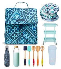 """Blue kitchen ware"" by haleye2016 on Polyvore featuring interior, interiors, interior design, home, home decor, interior decorating, Vera Bradley, S'well, Mudhut and Fiesta"