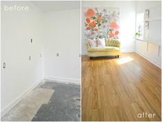 I can't believe that next week we'll be revealing our completed Garage Creative Studio! We are sharing our renovation project weekly as part of the One Room Challenge™. Laminate Flooring Basement, Installing Laminate Flooring, Vinyl Plank Flooring, Plywood Floors, Wood Flooring, Painting Laminate Wood, Painted Concrete Floors, Stained Concrete, Concrete Countertops