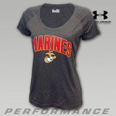 Under Armour Women's Marines Logo Tech Performance Tee   ArmedForcesGear.com