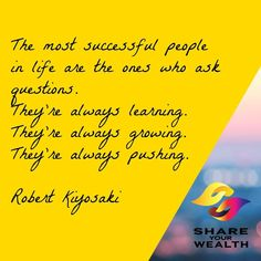 Keep learning, keep pushing and keep growing! Achieve Success, Robert Kiyosaki, Subconscious Mind, Always Learning, Get Excited, Successful People, Positive Affirmations, Monday Motivation, Wealth