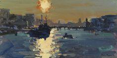 Peter Brown  Sun setting over HMS Belfast  oil on board  H 15 x W 31 cm (H 6 x W 12 in)