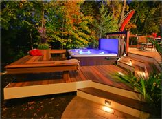 Beautiful deck with sunken hot tub