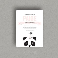 CUSTOM PANDA INVITATION for birthday party by RosaPearsonDesign