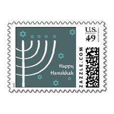 Happy Hanukkah mailing stamp Happy Hanukkah blue stamp with a hand drawn white Menorah...read more