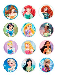 Disney Princess cupcake toppers Disney by ClaudiaParkerDesigns, $3.00