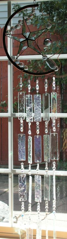 Copper Windchime with Star and Crystal Embellishments Stained Glass Suncatcher on Etsy, $130.00
