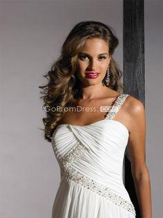 Grecian one shoulder Chiffon Beaded long Wedding Dress
