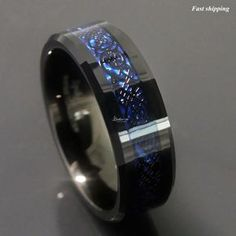 sz 6 – 13 New! Dramatic Dragon Celtic Pattern Inlay over Deep Blue in Black Tung… sz 6 – 13 New! Dramatic Dragon Celtic Pattern Inlay over Deep Blue in Black Tungsten Carbide Men's Wedding Ring / Band Affordable Luxury Ring Set, Dragon Blue, Ring Armband, Celtic Wedding Rings, Man Wedding Rings, Celtic Rings, Tungsten Carbide Rings, Man Stuff, Men Accessories