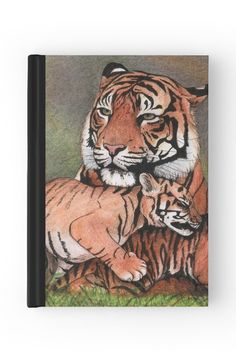 """""""Family of tigers"""" Hardcover Journal by Savousepate on Redbubble #hardcoverjournal #journal #notebook #stationery #drawing #felines #cub"""