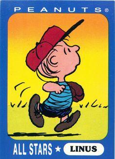 Ziploc Peanuts All Stars Cards - Linus ♡ See More #PEANUTS #SNOOPY pics at www.freecomputerdesktopwallpaper.com/peanuts.shtml