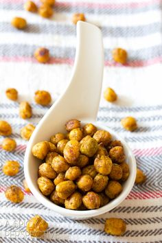 """Healthy """"Indian"""" Roasted Chickpeas   ASpicyPerspective.com #snack #healthy #chickpeas"""