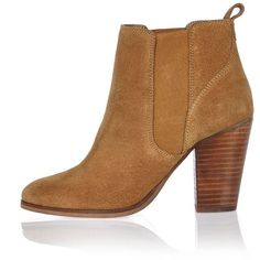 River Island Tan suede heeled ankle boots ($130) ❤ liked on Polyvore featuring shoes, boots, ankle booties, chelsea boots, shoes / boots, tan, women, high heel booties, beatle boots and tan chelsea boots