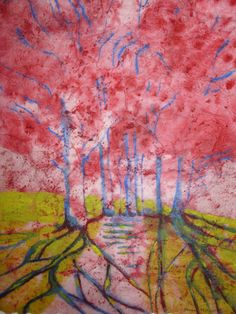 Original tree painting signed abstract by MarciaMcKinzieArt, $85.00